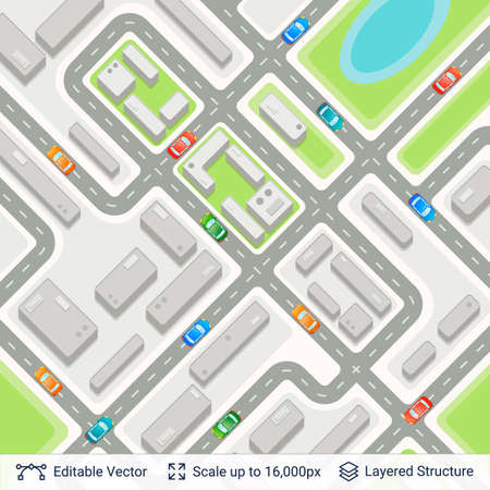 Abstract city plan with traffic on strrets. Illustration