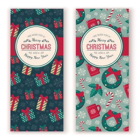Christmas toys pattern and greeting text. Illustration