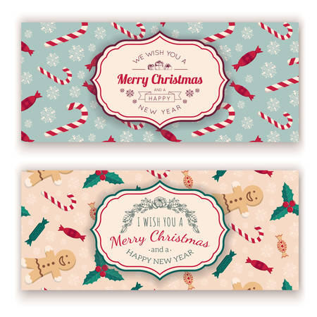 Christmas candies pattern and greeting text. Illustration