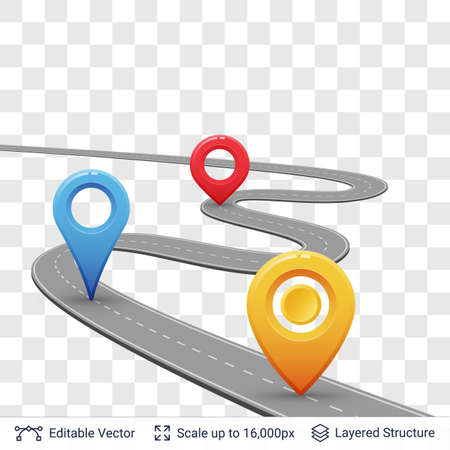 Road with location pins.