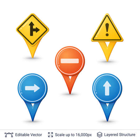 Road sign pins set.