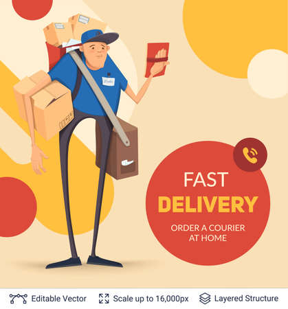 delivery service: Deliveryman and ad text.