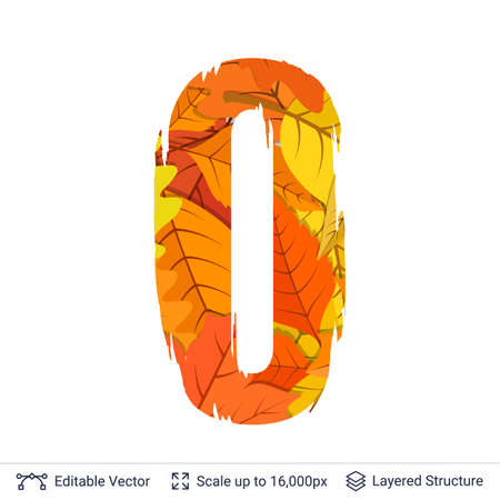numbers abstract: Paint brush silhouette filled with leaves pattern. Illustration