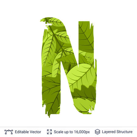 Paint brush silhouette filled with leaves pattern. Illustration