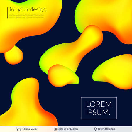 Plastic liquid colorful shapes and text. Vector illustration.