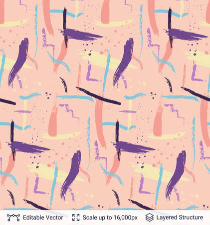Colorful paint brush strokes pattern. Vector illustration.