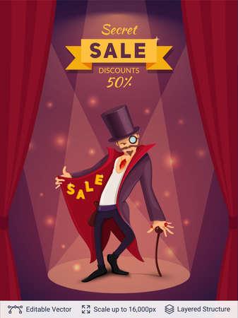 Cartoon styled magician