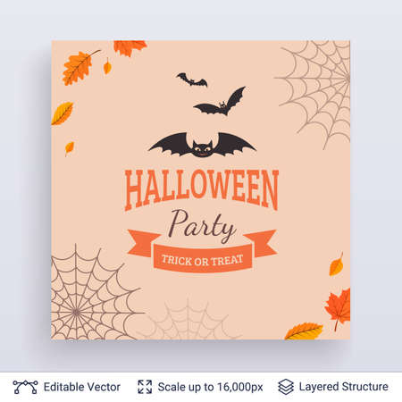 Cute bats and text framed with autumn leaves and spider web on white background. Illustration