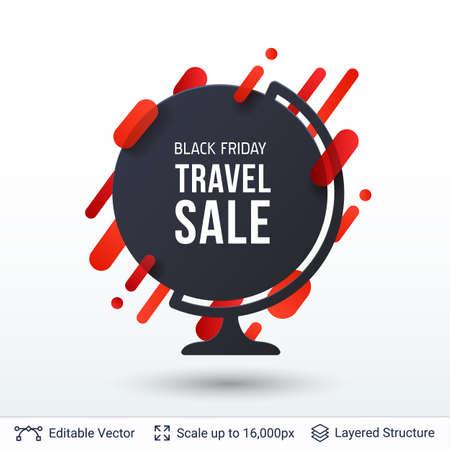 Black Friday Travel Sale Offer. Illustration