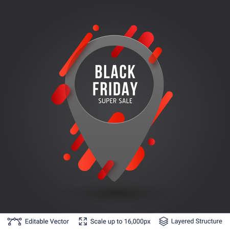 Black Friday Super Sale location pin icon. Illustration