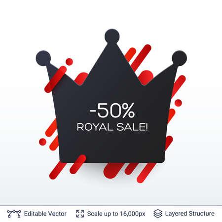 Black Friday Royal Sale badge. Illustration