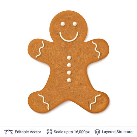 Gingerbread man cookie with white icing border, isolated on white.