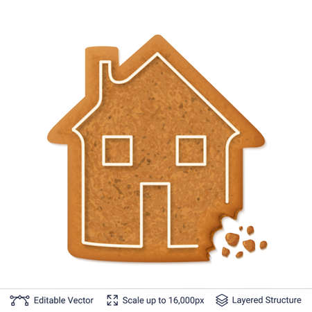 Gingerbread cookie in house shape with white icing borderline, isolated vector illustration Illustration