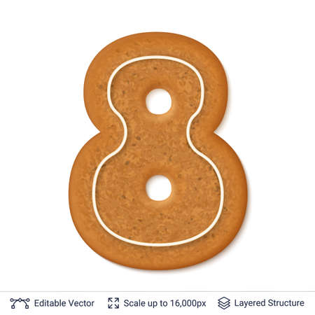 Gingerbread numeral eight design cookie, isolated on white.