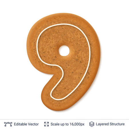 Gingerbread numeral nine design cookie, isolated on white.