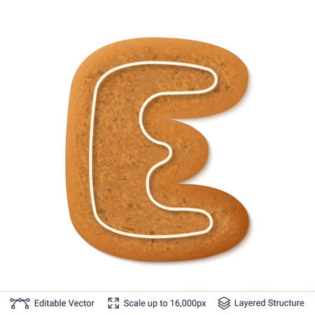 Gingerbread cookie in an alphabet letter E form, isolated on white.