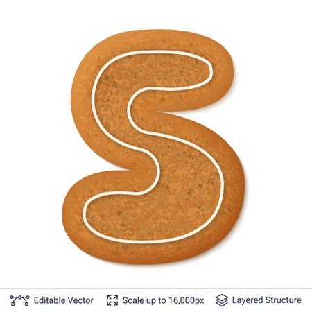 Gingerbread cookie with alphabet letter S shape, isolated on white.