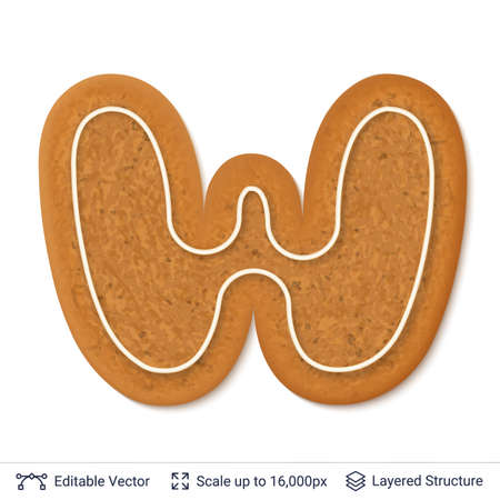 Gingerbread cookie with alphabet letter W shape, isolated on white.