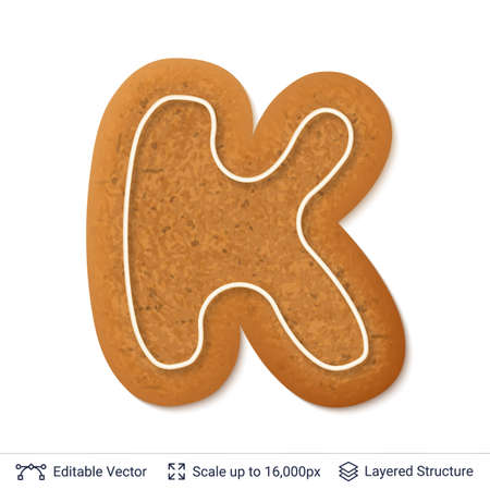 Gingerbread cookie with alphabet letter K shape, isolated on white.
