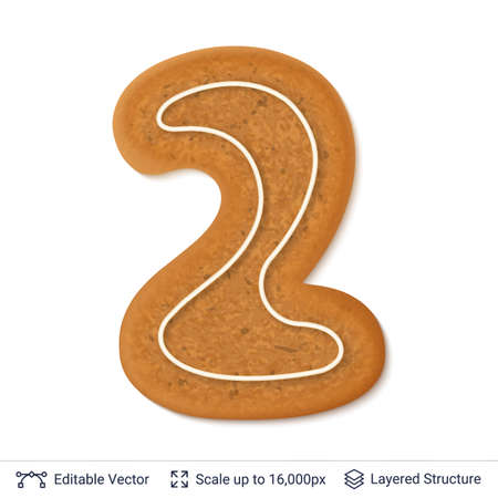 Gingerbread cookie designed in a numeral digit of two, isolated on white. Illustration