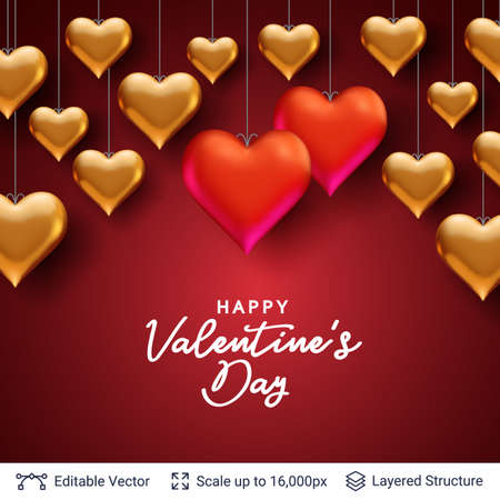 Happy Valentines Day card design with hearts on red background. Vector illustration.