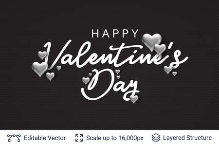 Happy Valentines day text and 3D hearts on black.