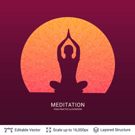 Yoga silhouette illustration with mandala design background vector template.