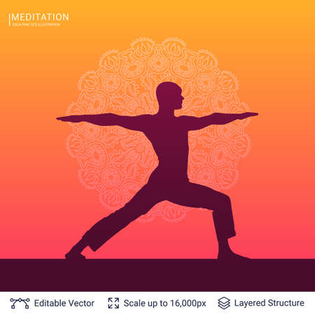 Yoga in silhouette illustration with mandala design background vector template.