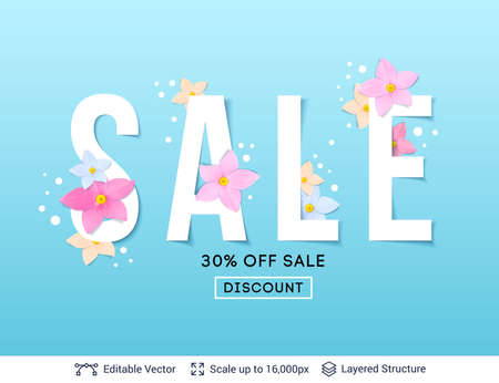 Flower blossoms on simple flat background. Text label easy to edit. Illustration