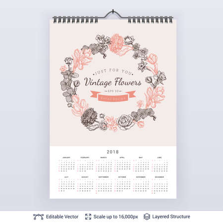 English planning calendar isolated on gray background.