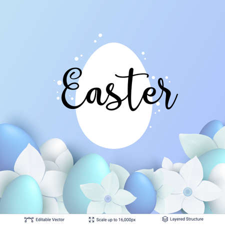 Easter background template with painted eggs and flowers.