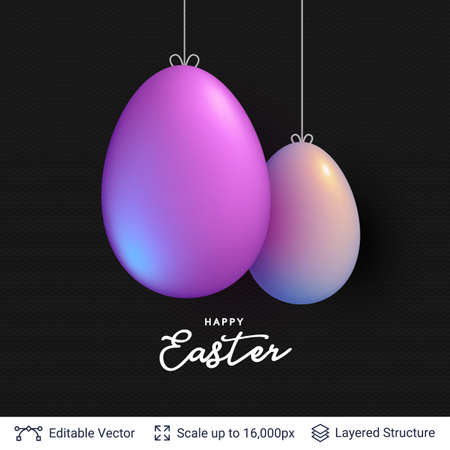 Easter background template with hanging painted eggs.