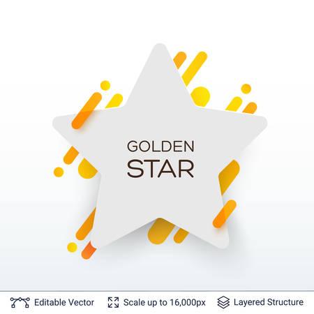 White badge star shaped sticker. Illustration