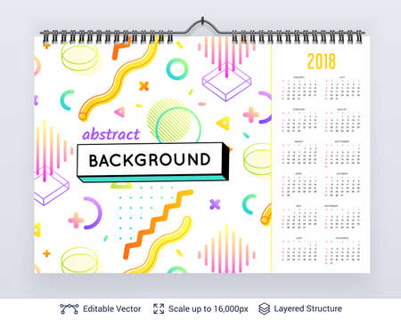English planning calendar. Illustration