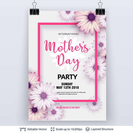 Mother's day party invitation template vector illustration