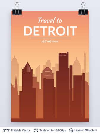 Detroit famous city scape. Stock Photo