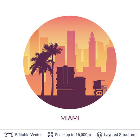 Miami famous city scape. Illustration