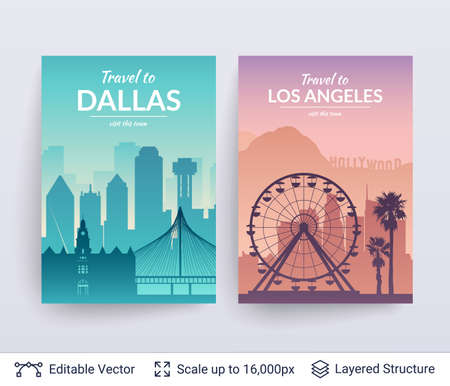 Flat well known silhouettes of architecture buildings. Vector illustration easy to edit for flyers, posters or book covers.