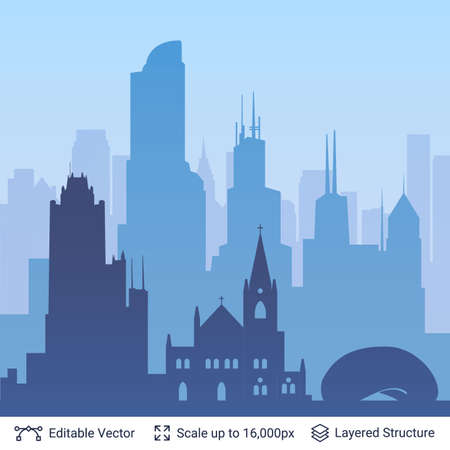 Flat well known silhouettes city skyline. Vector illustration easy to edit for flyers, posters or book covers.  イラスト・ベクター素材