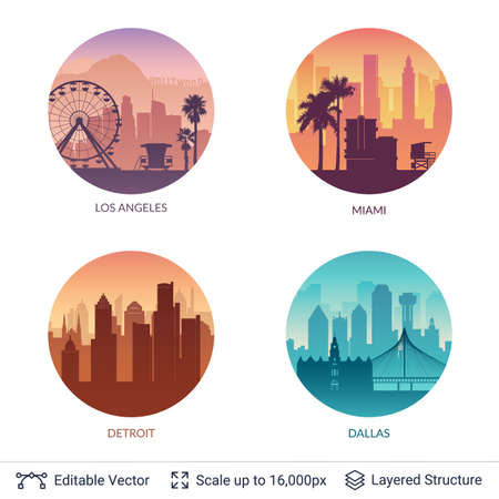 Flat well known silhouettes. Vector illustration easy to edit for flyers, posters or book covers. 일러스트