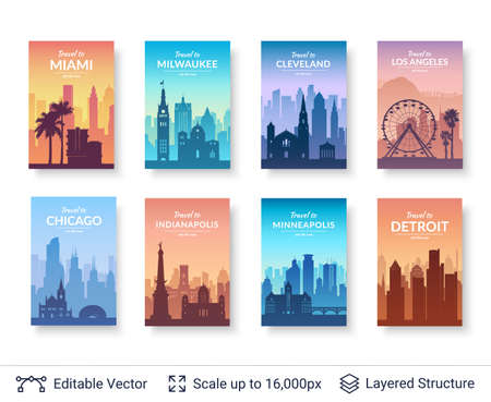 Flat well known silhouettes. Vector illustration easy to edit for flyers, posters or book covers.  イラスト・ベクター素材