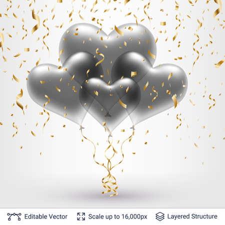 Bunch of 3D heart shaped air balloons.