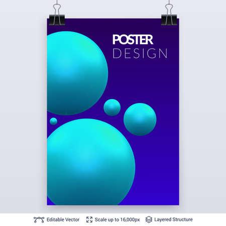 Editable vector poster design. Futuristic abstract composition