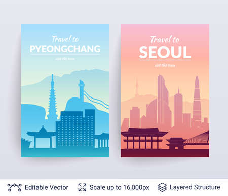 Seoul and Pyeongchang famous city scapes. Illustration