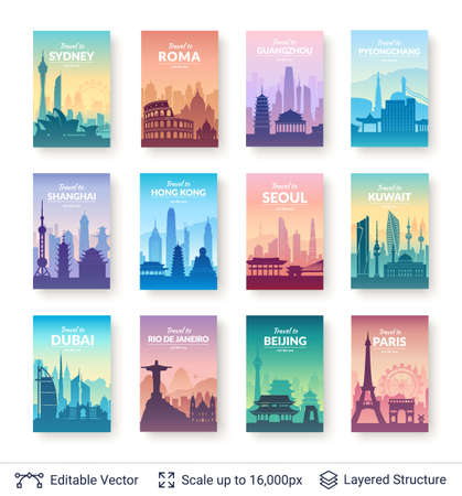 Collection of famous asian city scapes.