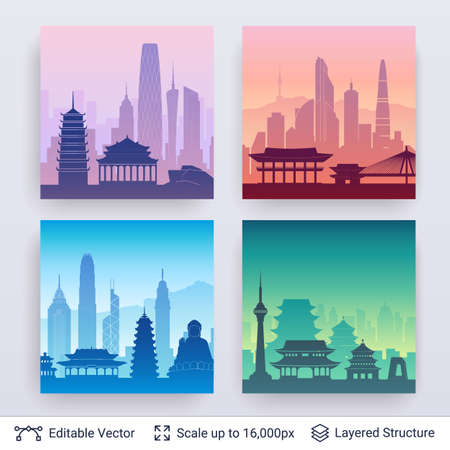 Collection of famous city scapes.