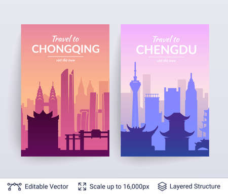 Chongqing and Chengdu famous chinese city scapes.