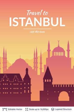 Istanbul famous city scape. Çizim
