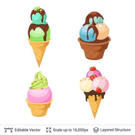 Zestaw orzeźwiających deserów lodowych.