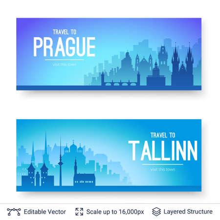 Tallinn and Prague famous city scapes.